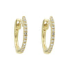 Thin Diamond Huggie Earrings in 14k Yellow Gold