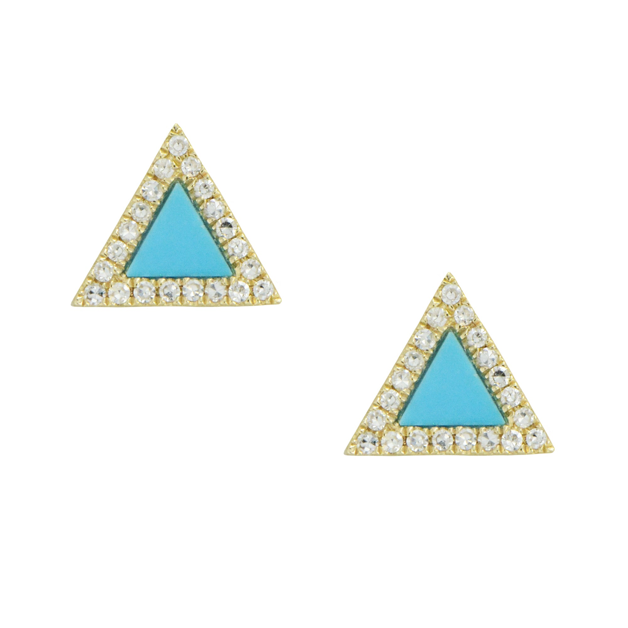Triangle Turquoise Diamond Stud Earrings in 14k Gold