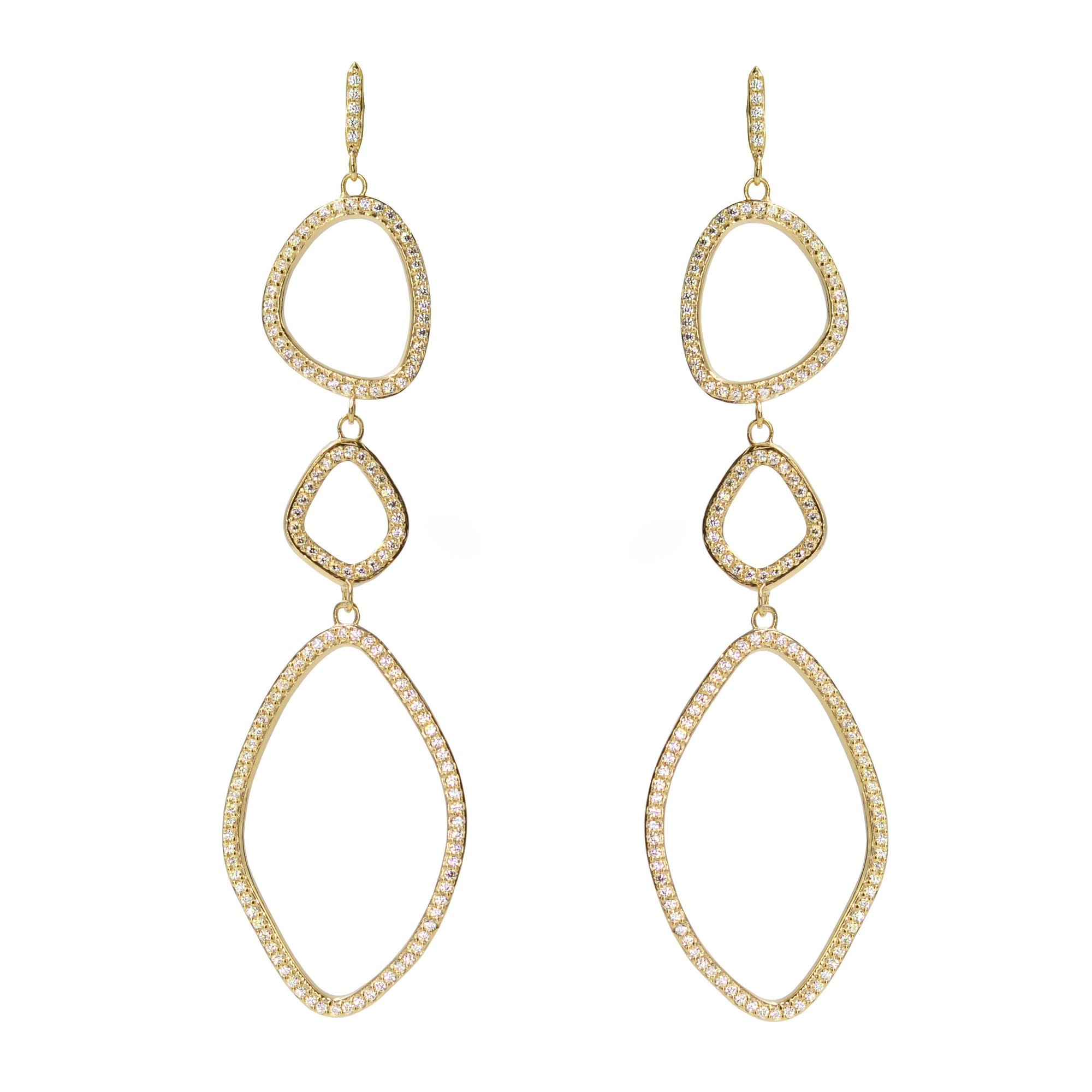Triple organic shape dangle earrings in yellow gold