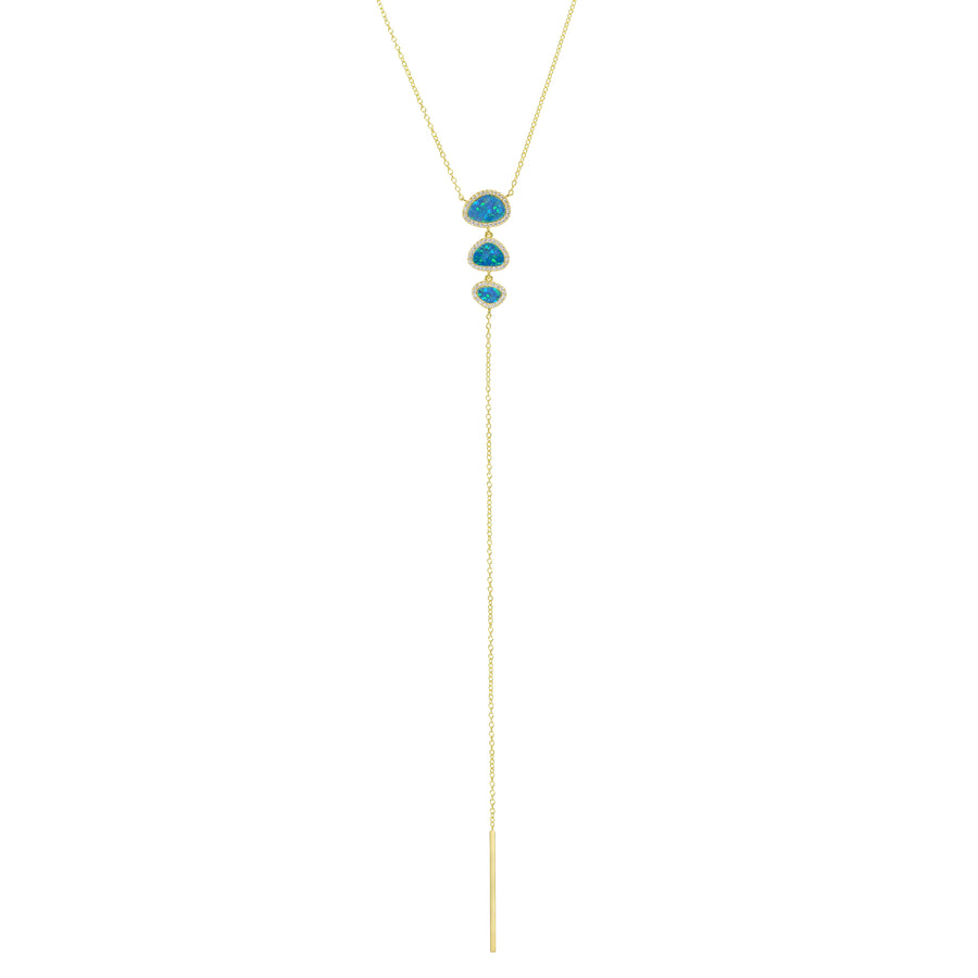 Triple Pebble Opal Lariat
