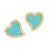 Turquoise amore heart stud earrings in gold with crystals