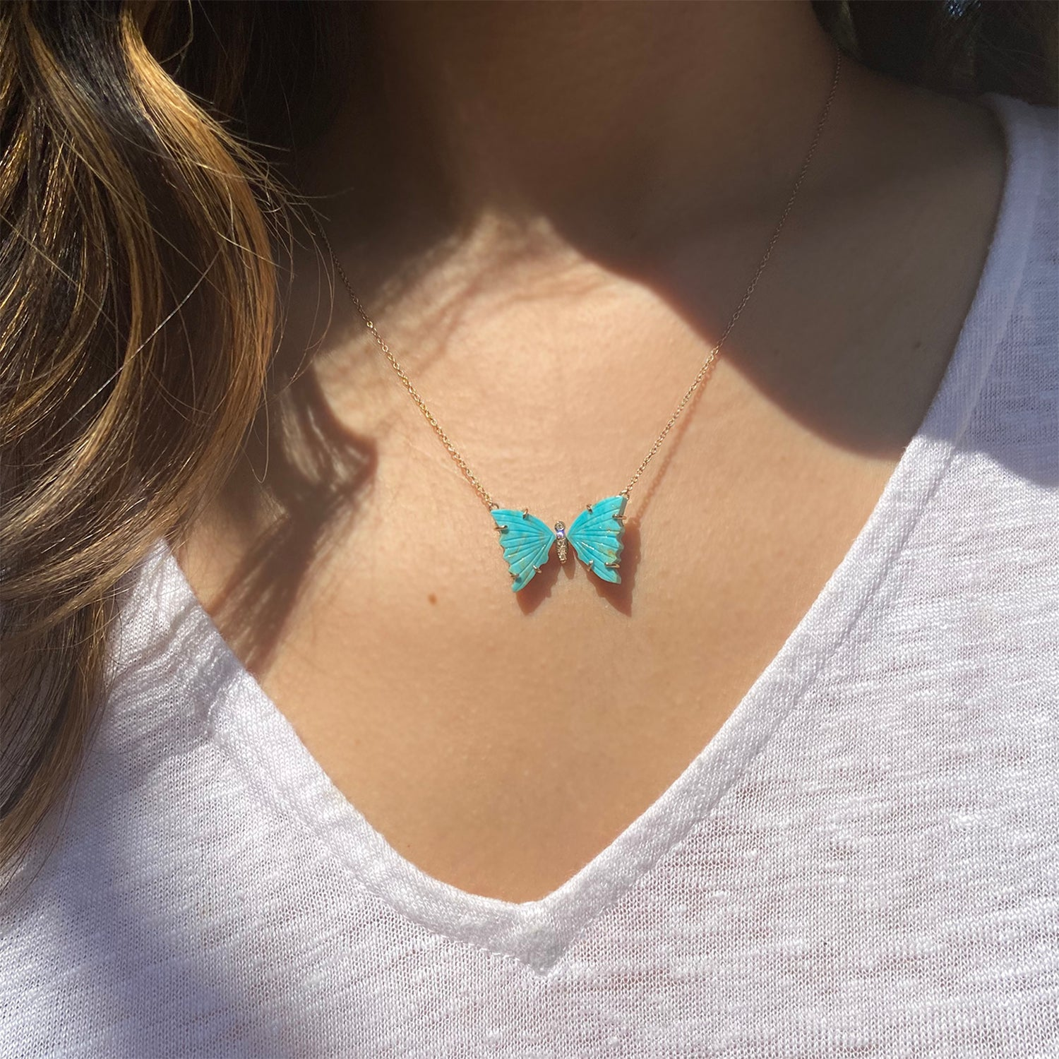Turquoise Butterfly Necklace With Diamonds
