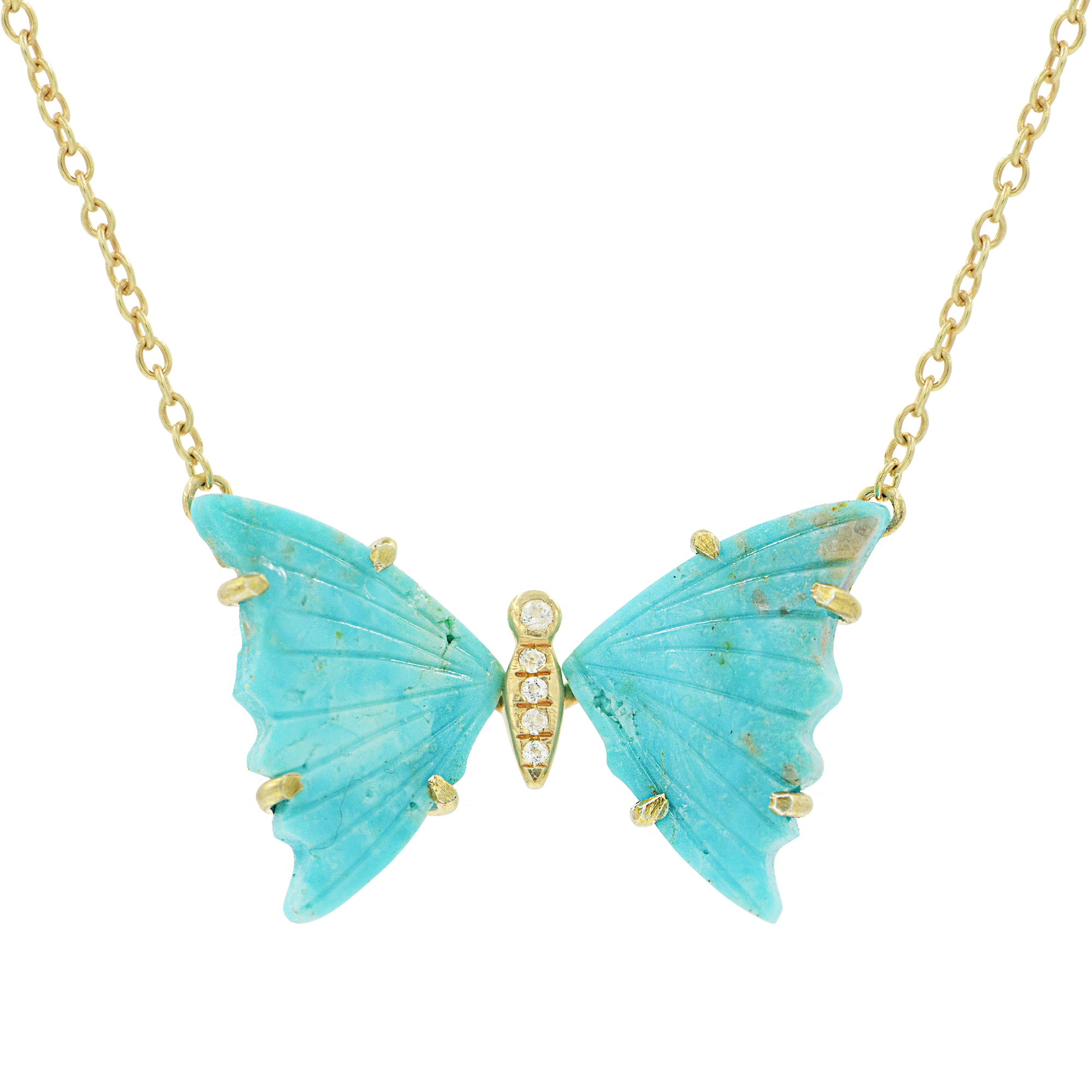 Turquoise Butterfly Necklace With White Topaz