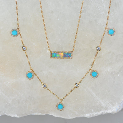 Turquoise Diamond Choker Necklace in 14k Gold Layered With Reflection Opal
