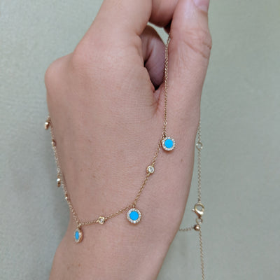 Turquoise Diamond Choker Necklace in 14k Gold Slider