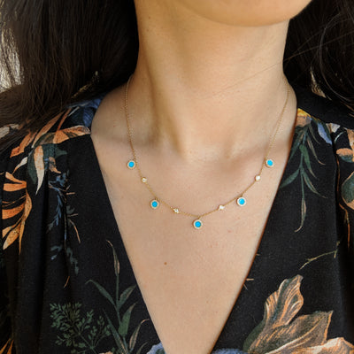 Turquoise Diamond Choker Necklace in 14k Gold Lifestyle