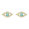 Turquoise Evil Eye Stud Earrings With Diamonds