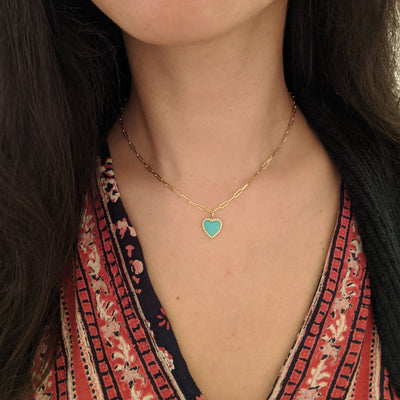 Turquoise Heart Necklace With Diamonds on Paperclip Link Chain 14k Gold on Model