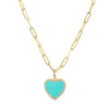 Turquoise Heart Necklace With Diamonds on Paperclip Link Chain 14k Gold