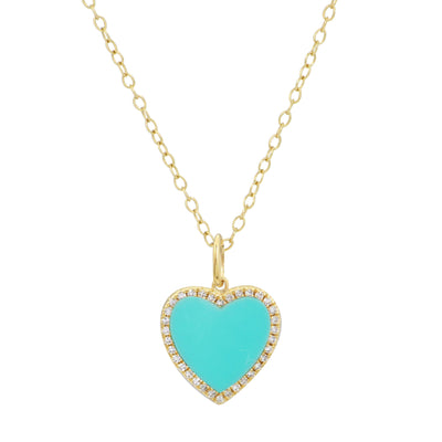 Turquoise Heart Necklace With Diamonds on Simple Chain 14k