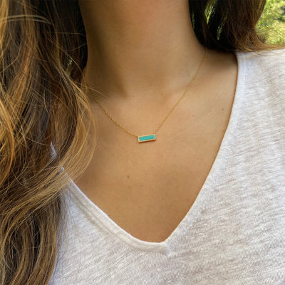Turquoise Reflection Rectangle Bar Necklace With Crystals Lifestyle