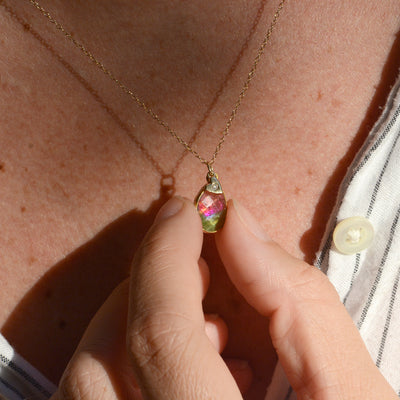 Watermelon Tourmaline Necklace With Diamond Heart Charm Lifestyle