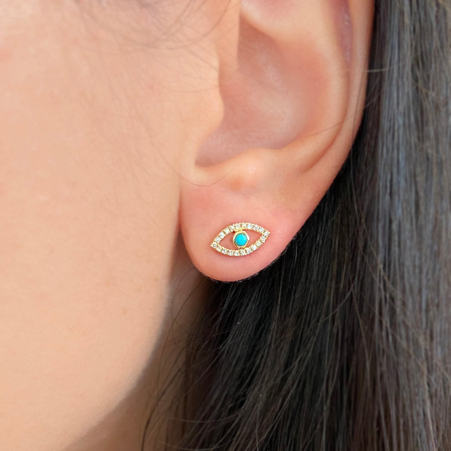 Wink Evil Eye Diamond Stud Earrings in 14k Gold