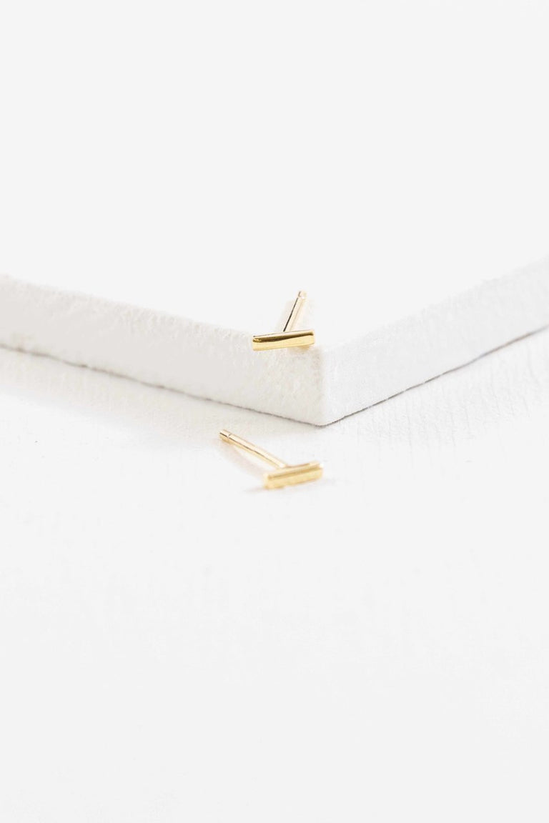 Mini Gold Bar Earrings