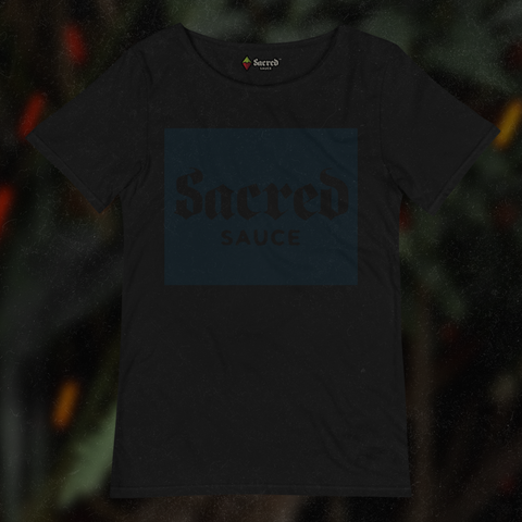 Sacred Sauce - Black on Black Raw Tee