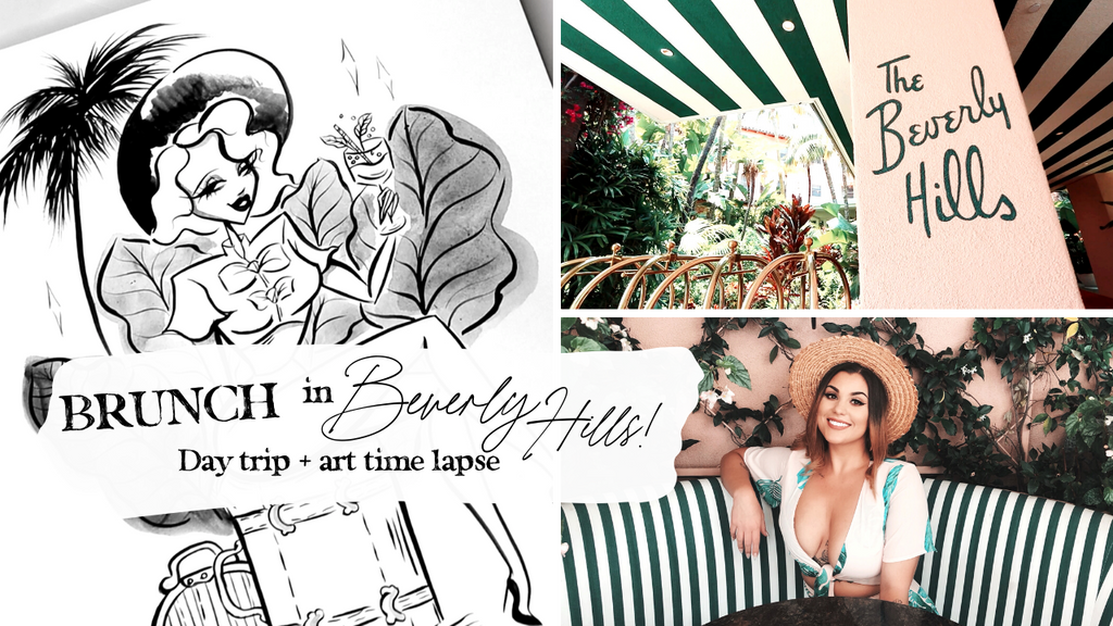 BRUNCH IN BEVERLY HILLS! // Day trip + Art time-lapse