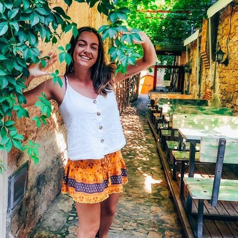 Steph from @weareallsunlight wear our Burning Skies Mini Shorts