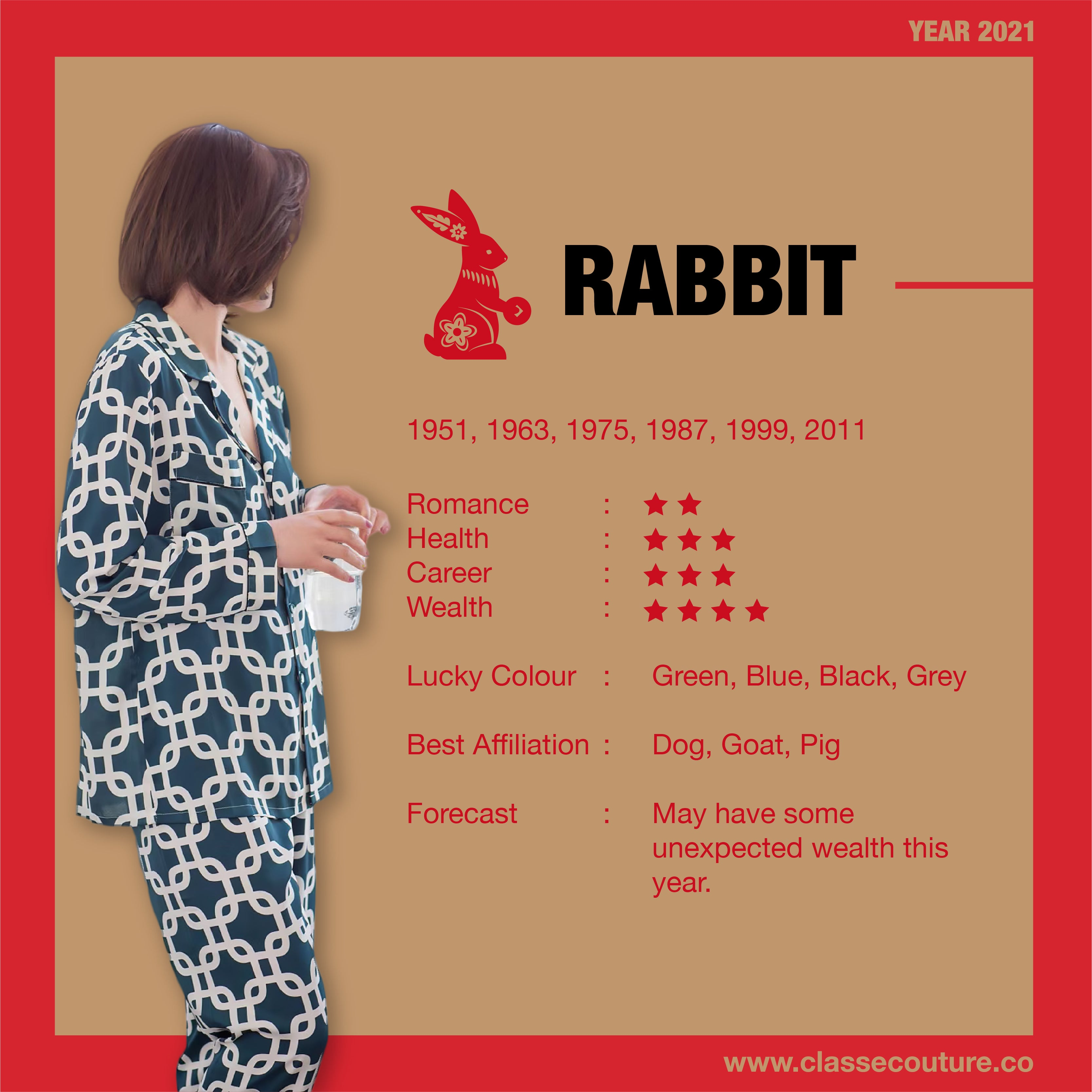 Chinese Horoscope year 2021 - year of the Ox. Yearly Feng Shui forecast and summarises about Rabbit Horoscope in year 2021!