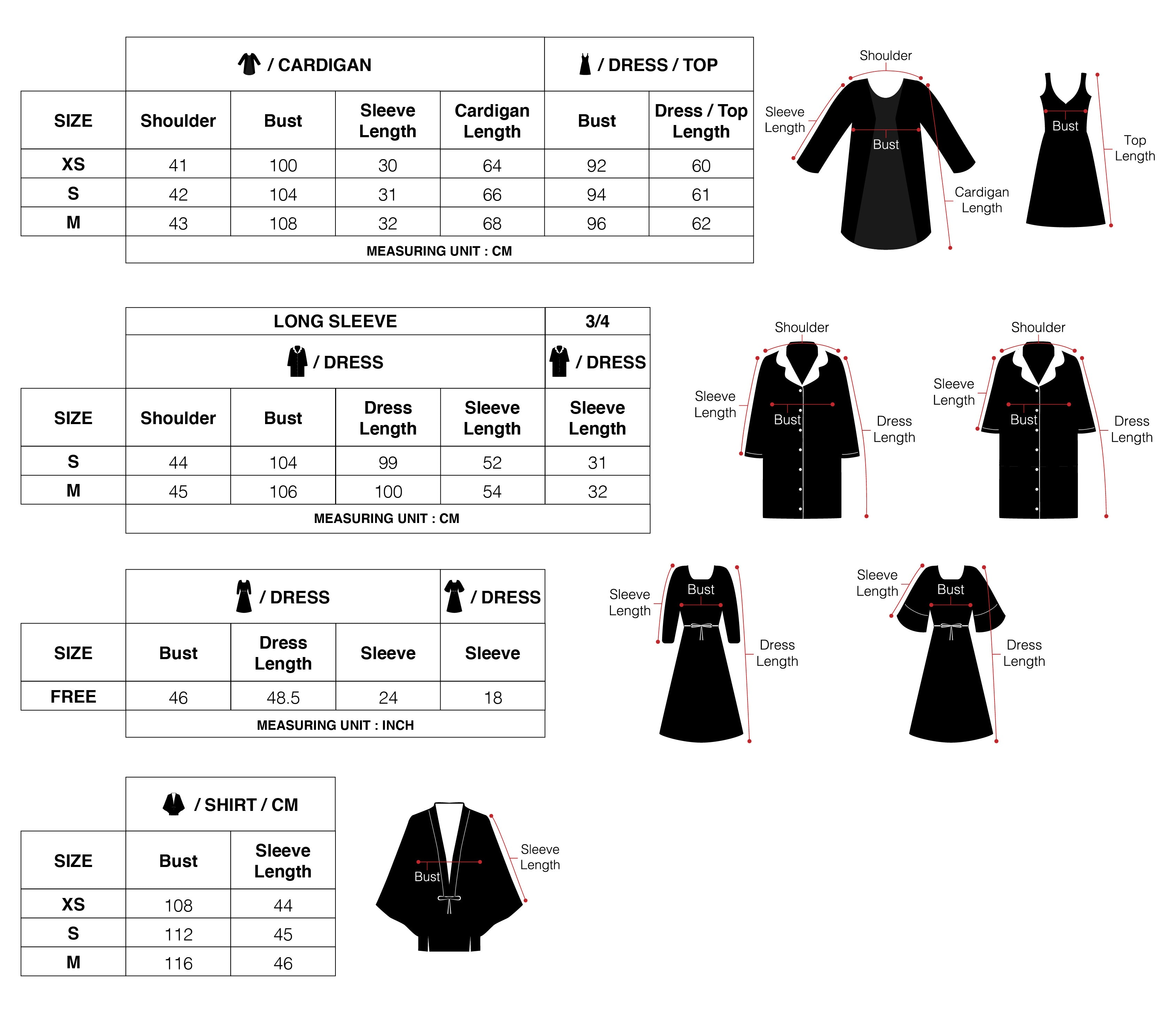 Classé Couture PJ Dress and kimono Size Guide