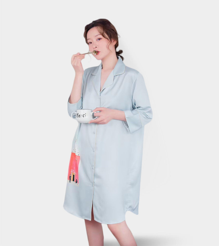 Birdie (Soft Blue) | Satin Silk PJ | Quarter Sleeve . Dress - Classé Couture