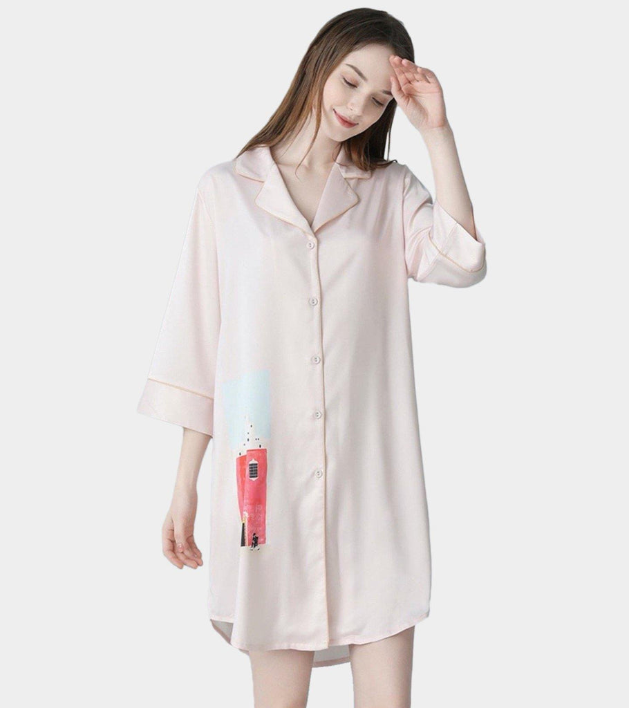 Birdie (Soft Pink) | Satin Silk PJ | Quarter Sleeve . Dress - Classé Couture