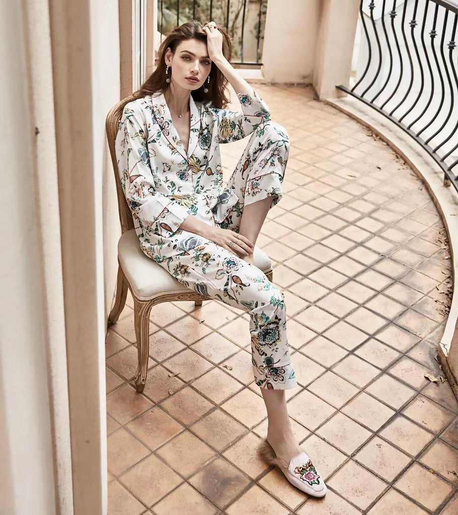 Lucille | Satin Silk PJ | Long Sleeve & Long Pants - Classé Couture