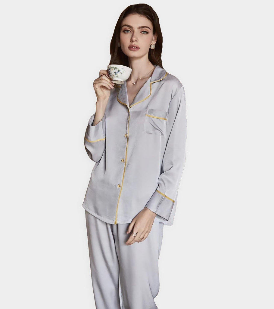 Zara | Satin Silk PJ | Long Sleeve & Long Pants - Classé Couture