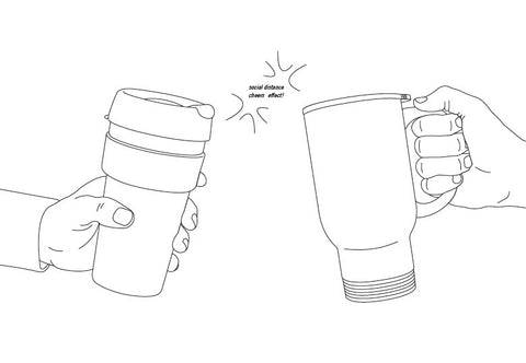 Social Distance Travel Mug Cheers Illustration