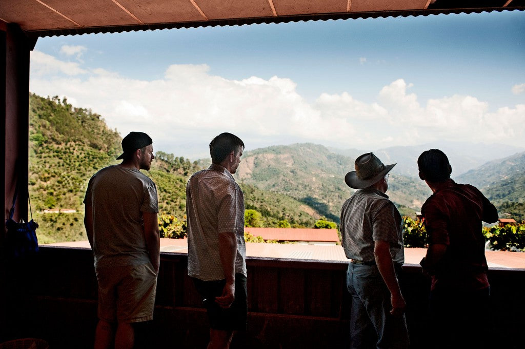 John, Jesse, Max, and Genaro Looking out over the Finca La Providencia.