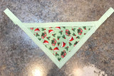 Santa Hats on Mint Pet Bandanna