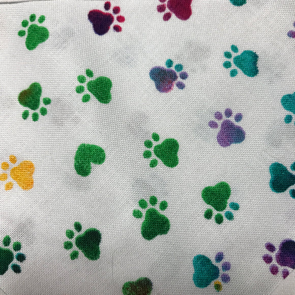 Rainbow Paw Print on White Pet Bandanna