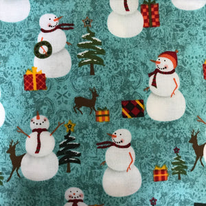 Snowmen on Teal Pet Bandanna