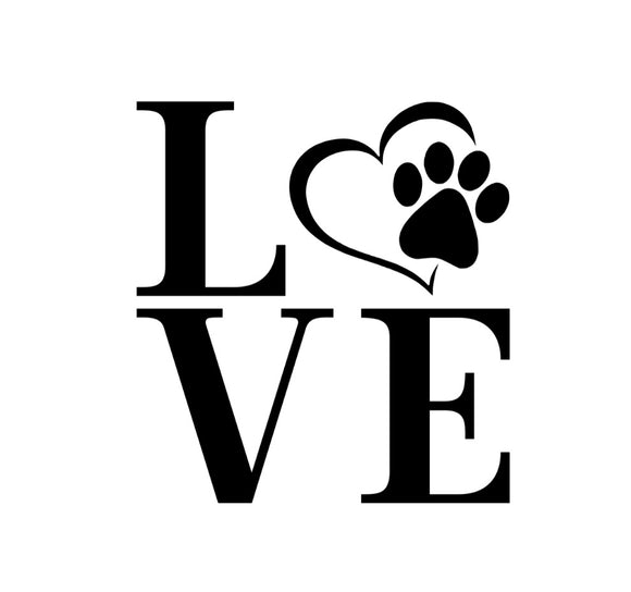 Heart Paw print LOVE Window Decal