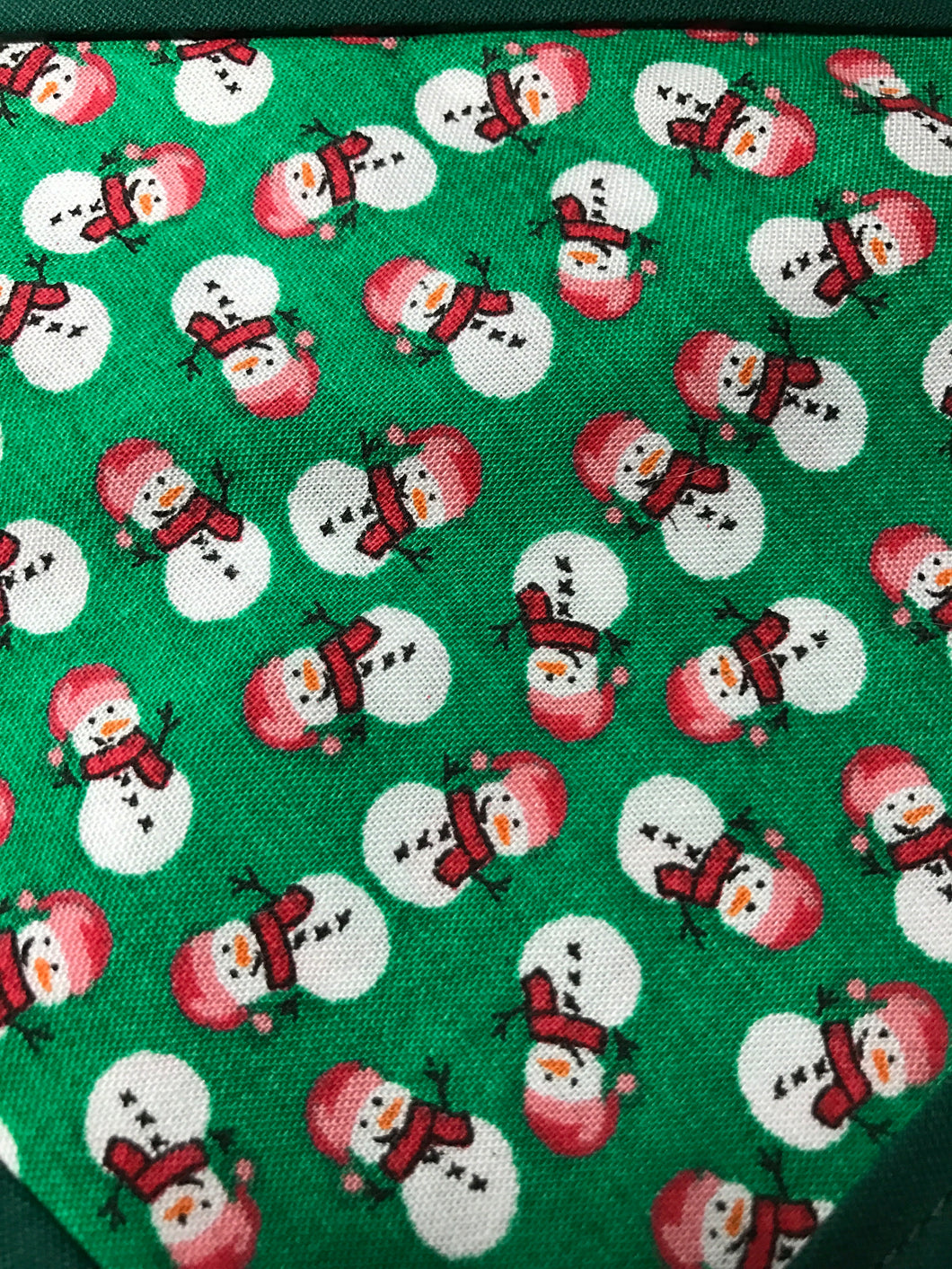 Snowmen mini on Green Pet Bandanna