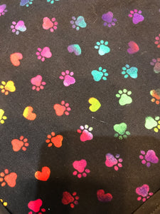 Rainbow Paw Prints on Black Pet Bandanna