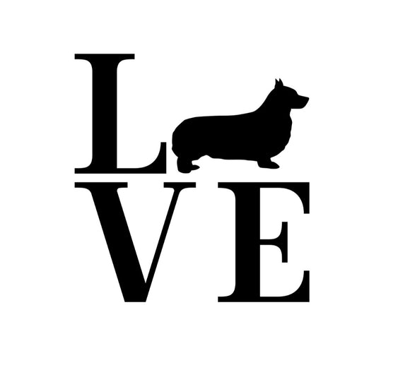 Breed silhouette LOVE Window Decal