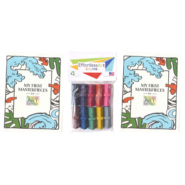 Level 1 Crayons + Coloring Books Bundle