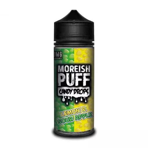 LEMON & SOUR APPLE E LIQUID BY MOREISH PUFF - CANDY DROPS 100ML 70VG