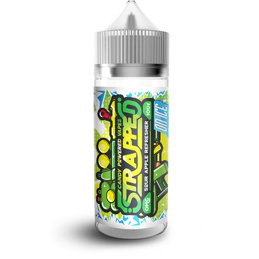 SOUR APPLE REFRESHER ON ICE E LIQUID BY STRAPPED 100ML 70VG