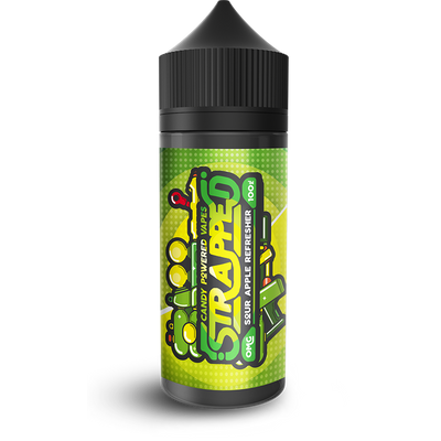 SOUR APPLE REFRESHER E LIQUID BY STRAPPED 100ML 70VG