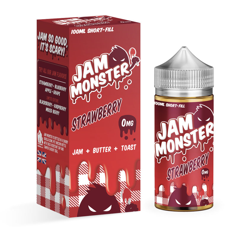 STRAWBERRY E LIQUID BY JAM MONSTER 100ML 75VG