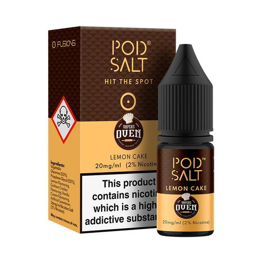 LEMON CAKE NICOTINE SALT E-LIQUID BY POD SALT FUSIONS RANGE - Eliquids Outlet