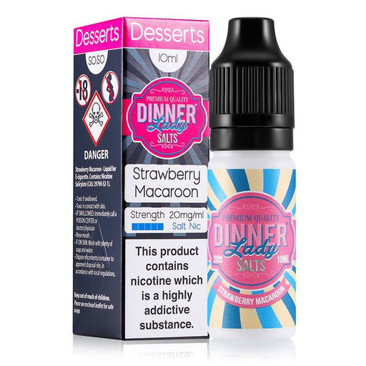 STRAWBERRY MACAROON NICOTINE SALT E-LIQUID BY DINNER LADY SALTS - Eliquids Outlet