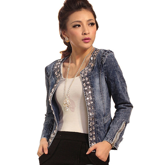 Denim Retro Jacket Rhinestone