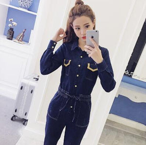 Spring Denim Cotton Long Sleeve Slim pant