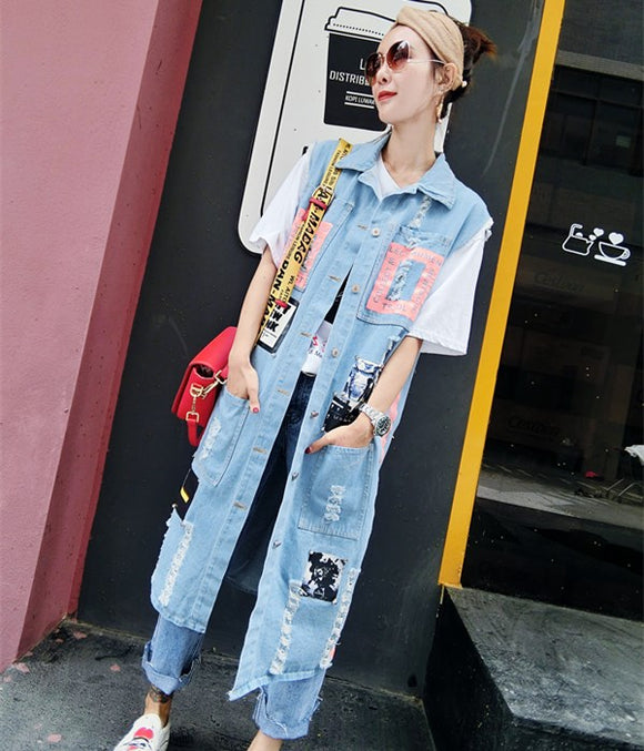 Autumn Street Print Hole jean jacket
