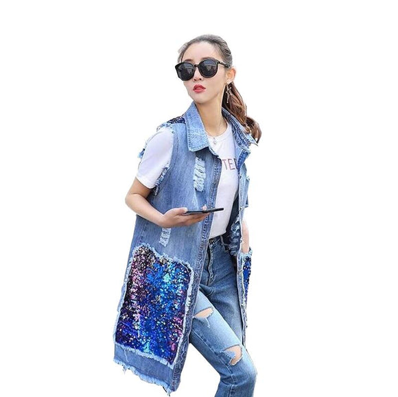 Fashion streetwear denim vest