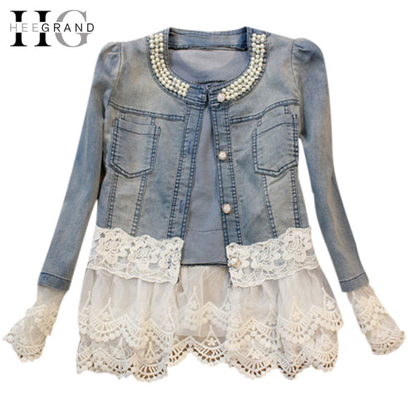 Slim Lace Patchwork Beading Denim