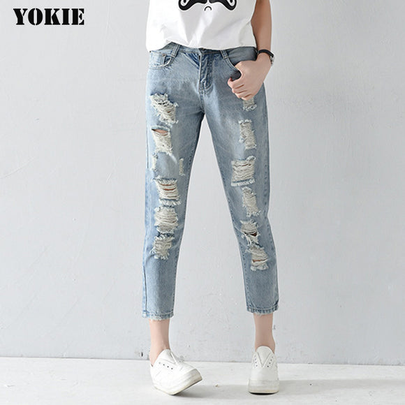 Plus size 25-32 Hole ripped jean