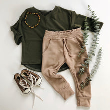 Olive Slouchy V-Neck Tee